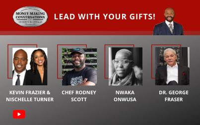 Kevin Frazier, Nischelle Turner, Chef Rodney Scott, Nwaka Onwusa & Dr. George Fraser